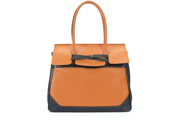 Lara Italian leather day bag for men and women in orange.