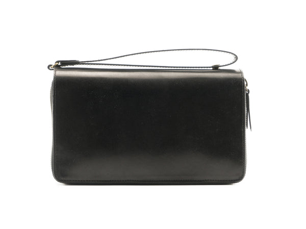 Tu Do leather pochette bag hand painted patina in black