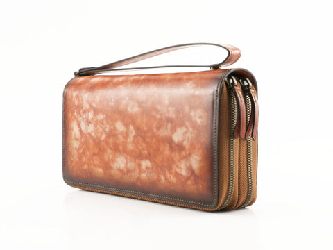 Tu Do pochette bag hand painted patina leather in orange
