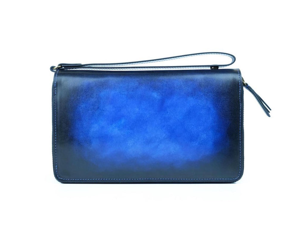 Tu Do pochette bag hand painted patina leather in royal blue