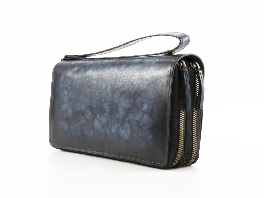 Tu Do pochette bag hand painted patina leather blue marble