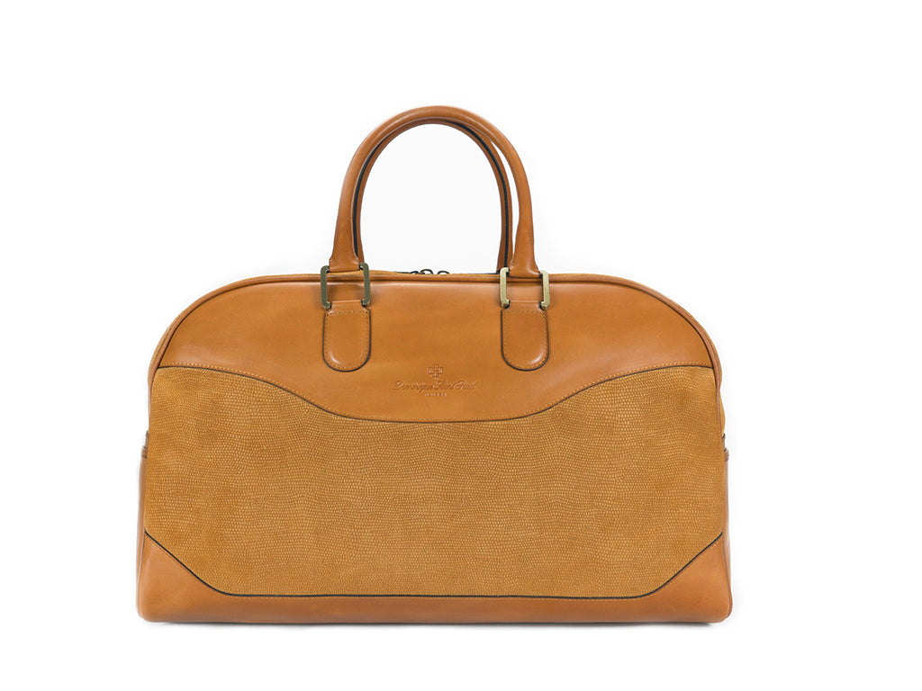 Vientiane leather bag in tan suede and hand painted leather