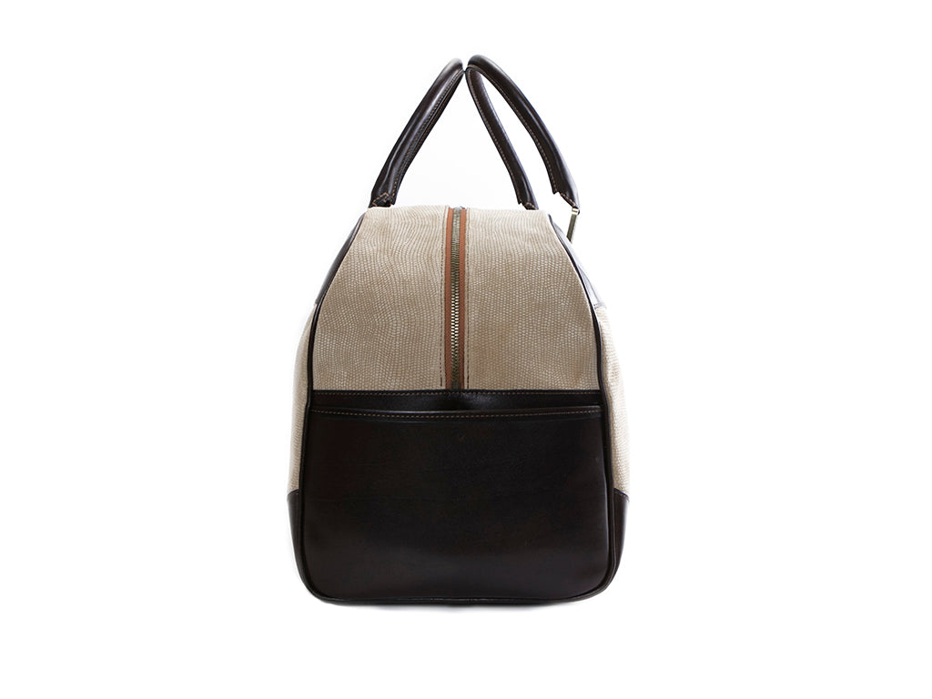 Vientiane leather weekend bag in bark and sand