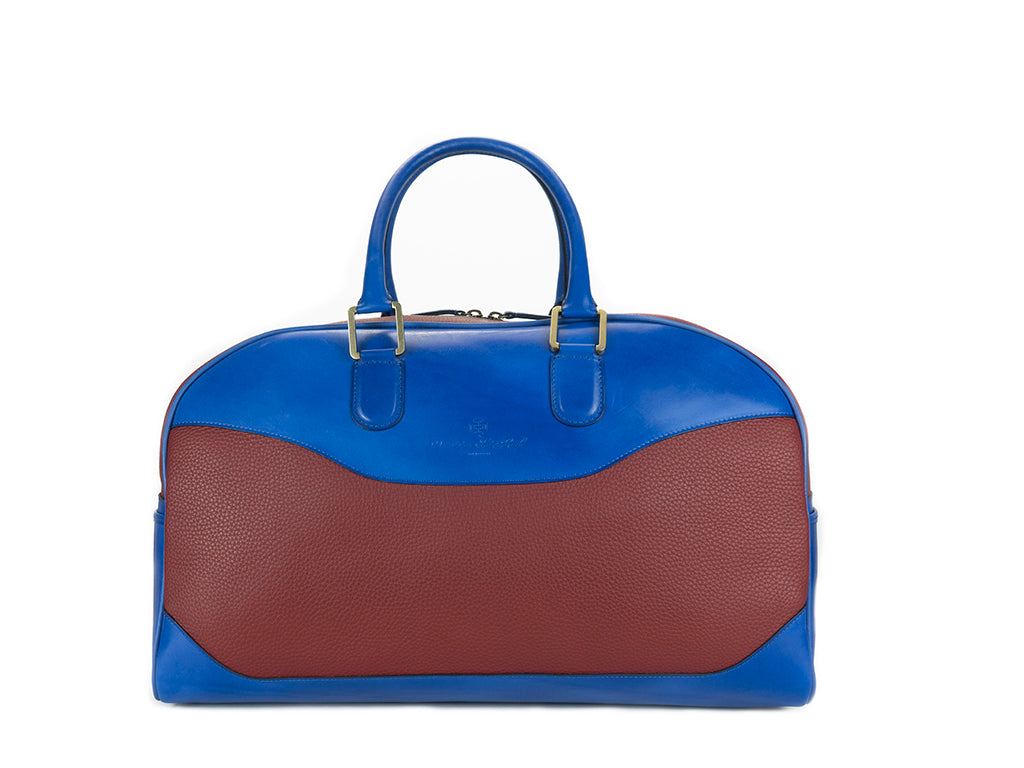 Vientiane bag hand painted blue patina red pebble grain