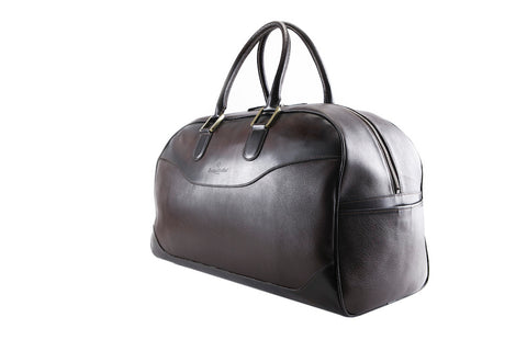 Vientiane leather weekend bag in dark chocolate