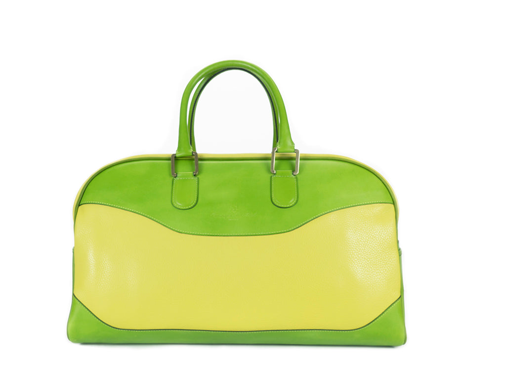 Vientiane bag hand painted green patina and lime green