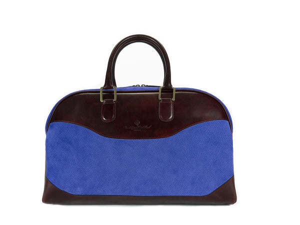 Vientiane bag in blue suede and dark purple hand painted