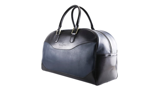 Vientiane leather weekend bag in dark midnight blue