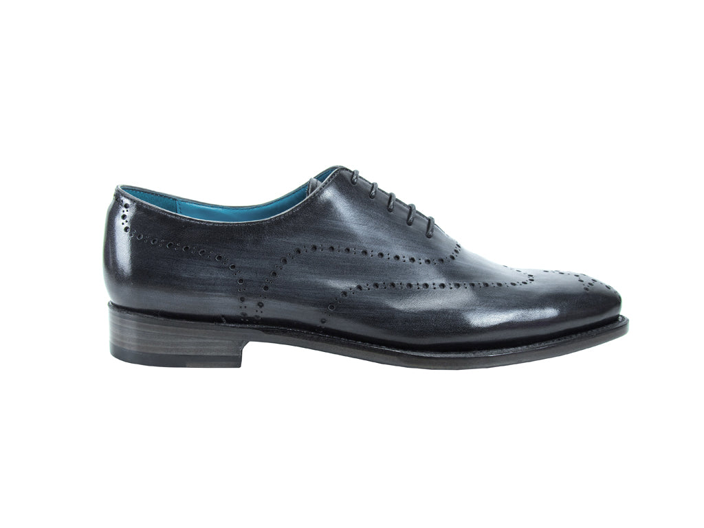 Vincent whole cut shoes in graphite striped patina colour