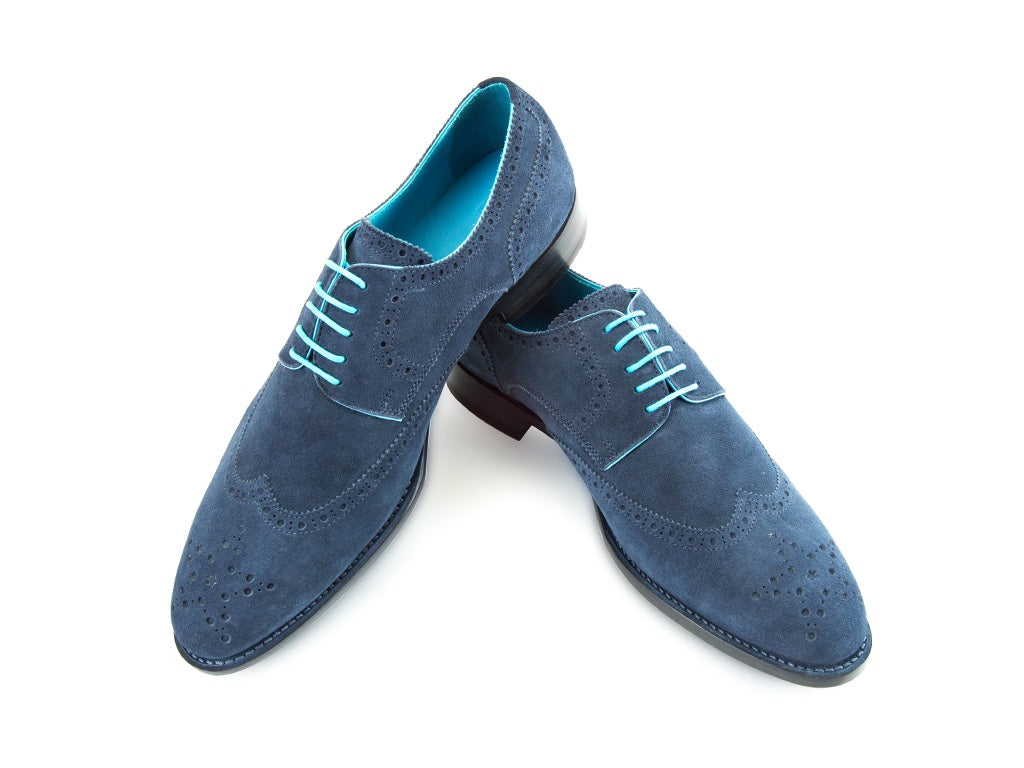 Wang Tai Derby wing tip shoes in navy blue suede