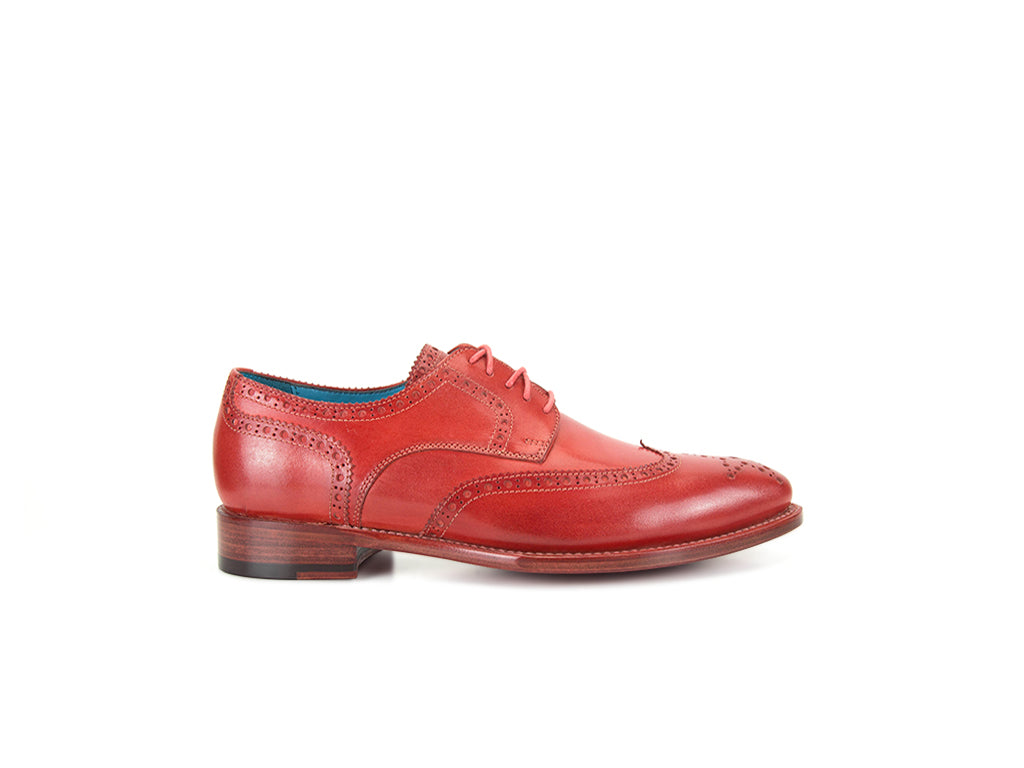 Wang Tai Derby wing tip shoes in red patina custom made