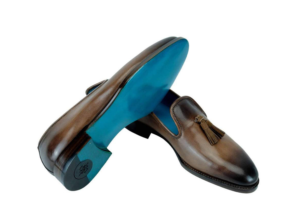 Wellington tassel loafer shoes custom made patina colors