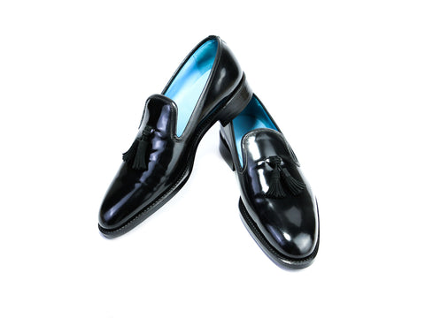 37 EE WELLINGTON TASSEL LOAFERS, BLACK PATENT - READY TO WEAR