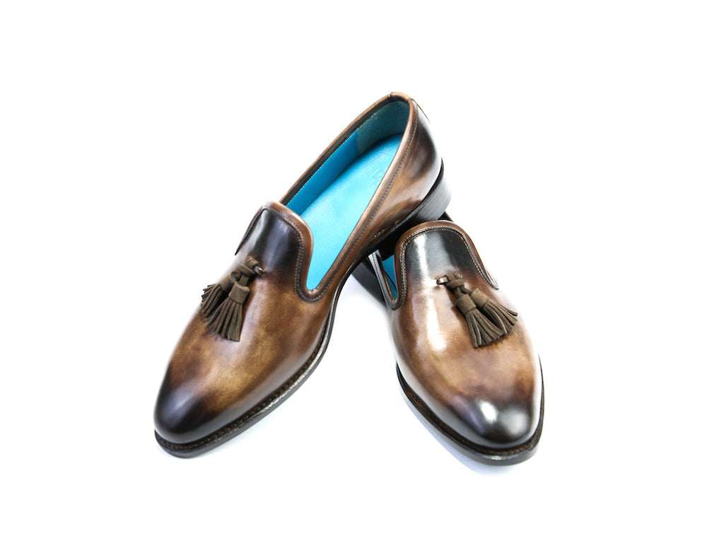 38 EE WELLINGTON TASSEL LOAFERS, BROWN PATINA - READY TO WEAR