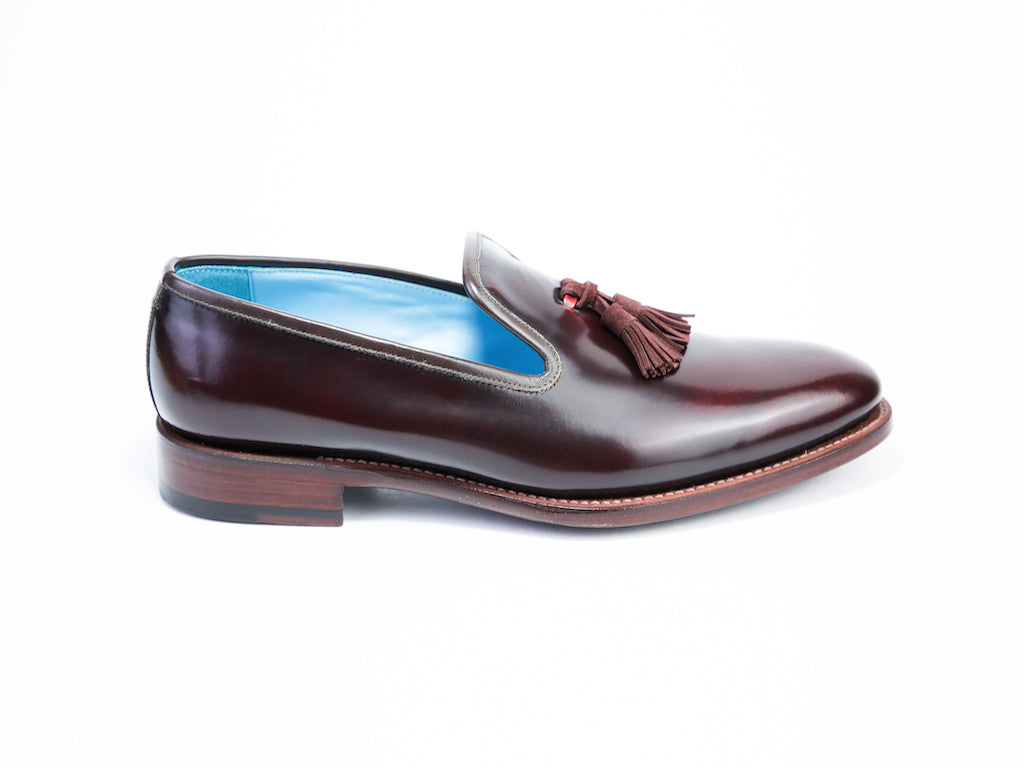 38 EE WELLINGTON TASSEL LOAFERS, RED PATENT - READY TO WEAR