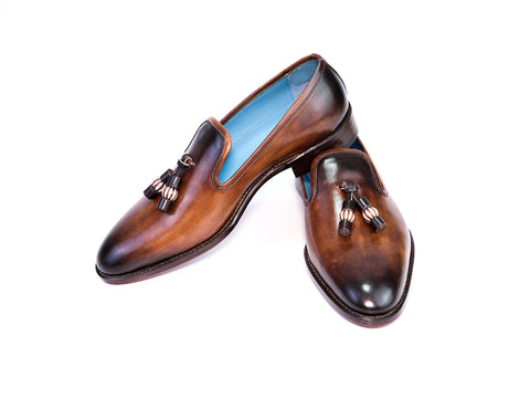 41 EEE WELLINGTON TASSEL LOAFERS, BROWN PATINA - READY TO WEAR
