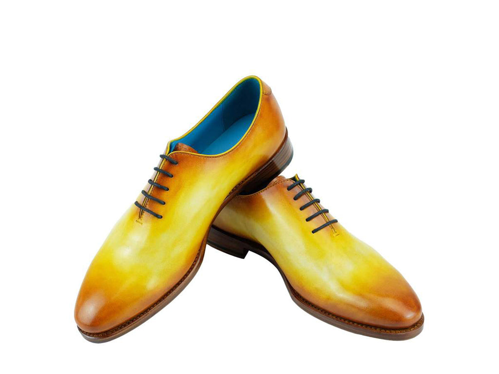 3cddd8e6616f2 The Aristocrat whole cut shoes in lemon yellow and ochre patina ...