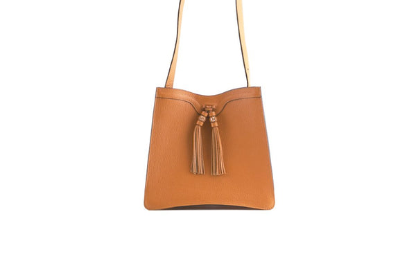 Beatrice handbag in pebble grain leather bag Orange