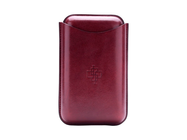 Patina hand coloured leather cigar case large size in Burgundy