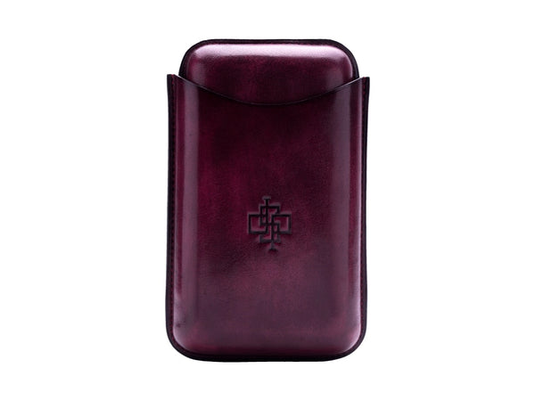 Patina hand coloured leather cigar case large size in purple