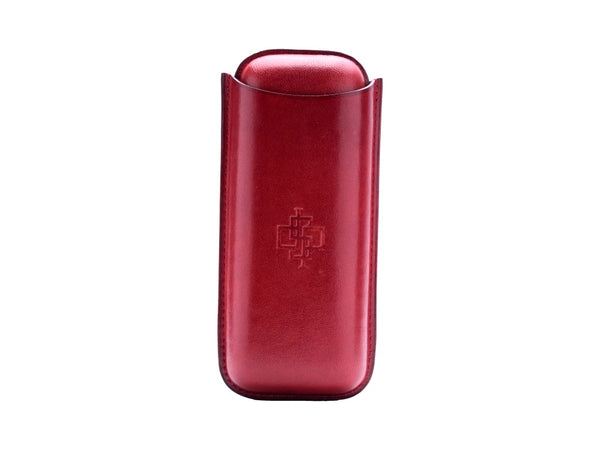 Patina hand coloured two piece leather cigar case Burgundy