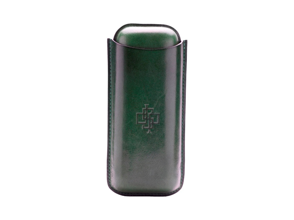 Patina hand coloured two piece leather cigar case green