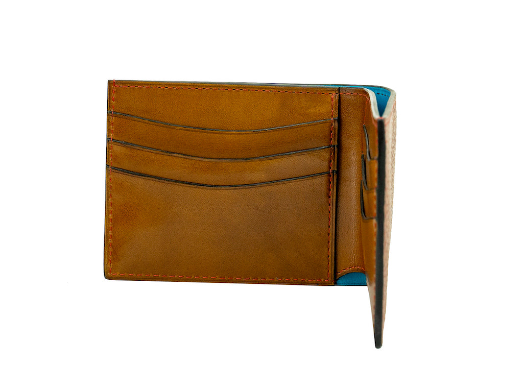 Classic brown wallet, patina and pebble grain