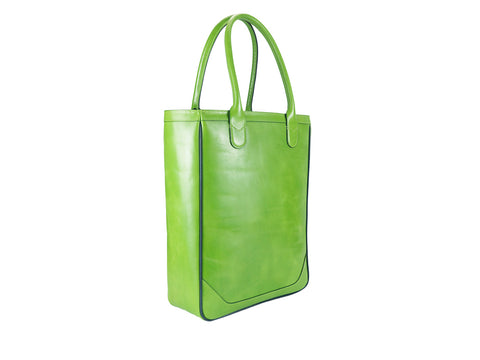 Nhu leather slimline tote bag in hand painted patina green