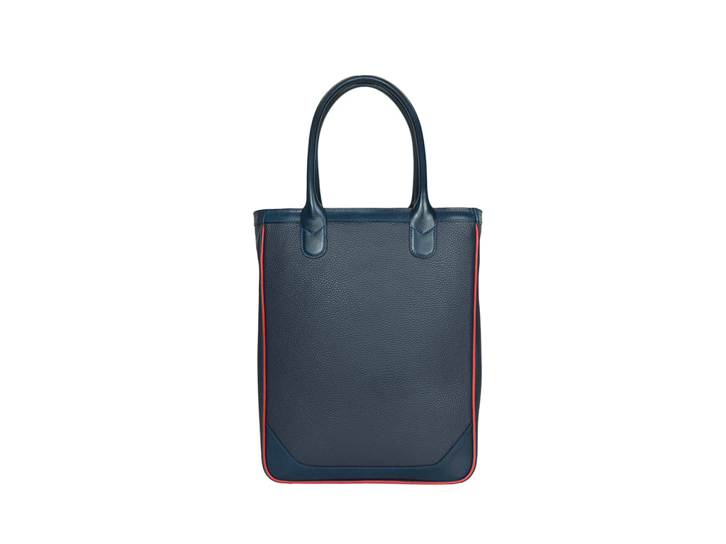 Nhu slimline tote bag in midnight blue pebble grain leather