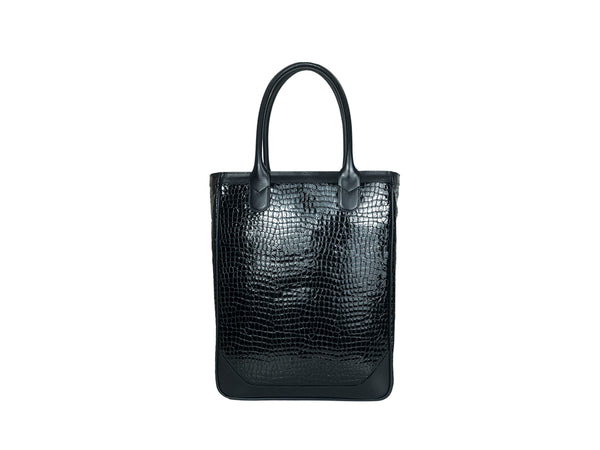 Nhu tote bag in black patent leather with crocodile print