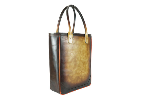 Nhu leather tote bag washed hand painted havana & brown
