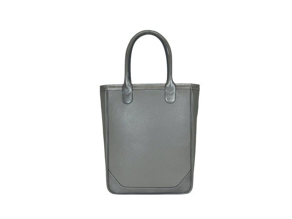 Nhu slimline tote bag in grey pebble grain leather