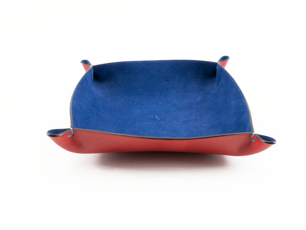 Leather accessories tray custom made in blue suede and red hand painted