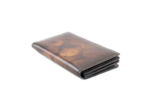 Accordion leather card holder wallet in brown patina