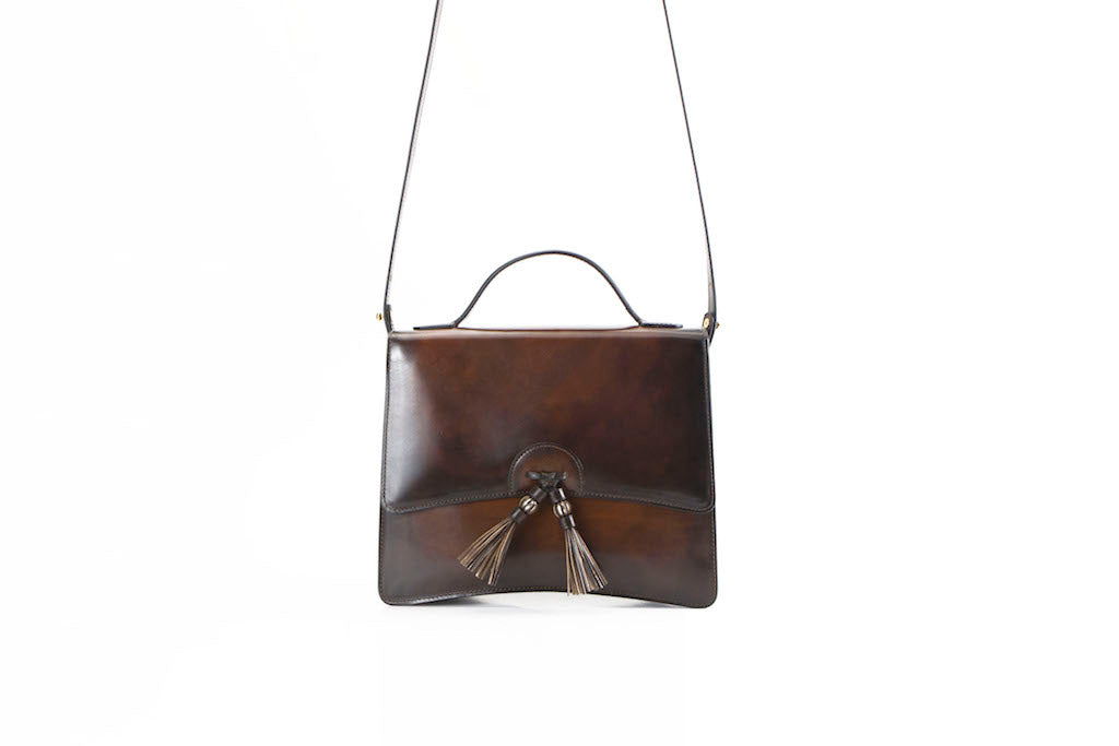 Bertha handbag in hand painted leather dark brown patina