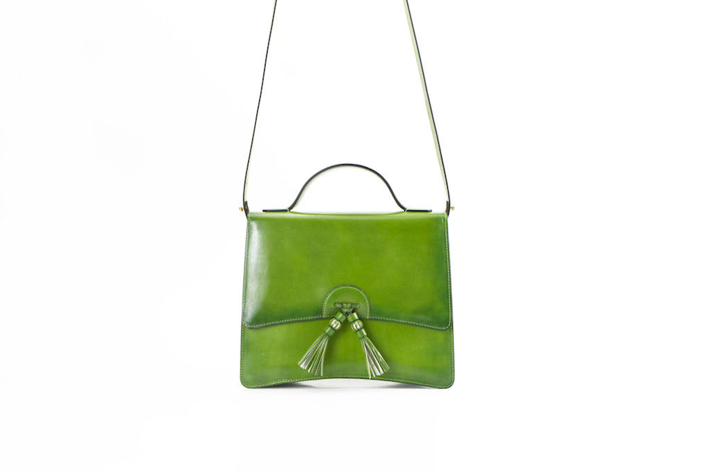 Bertha handbag in hand painted leather green patina