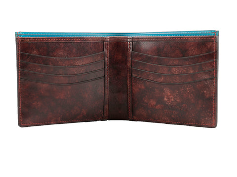 bifold wallet hand painted patina Burgundy mottled patina