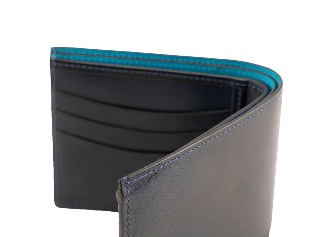 Bifold leather wallet midnight blue patina