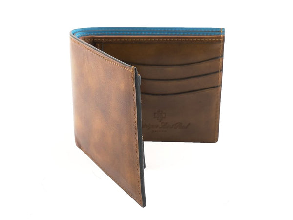 Bifold wallet in hand painted brown patina