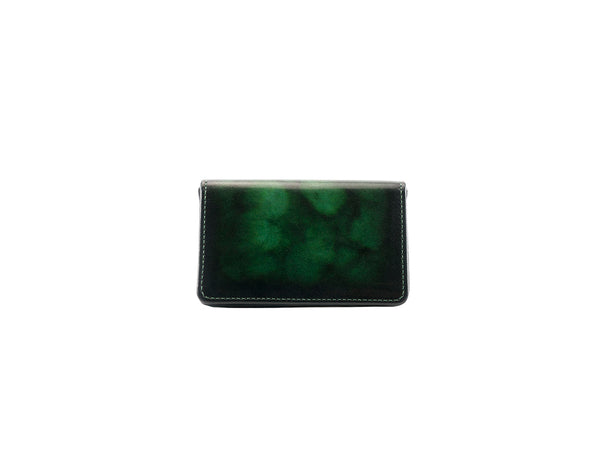 Business card holder hand painted patina green marble