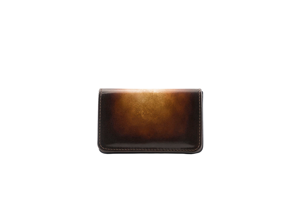 Business card holder hand painted patina Havana brown