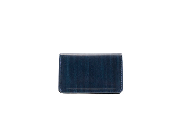Leather card holder hand painted patina midnight blue