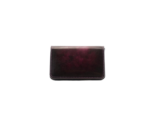 Leather business card holder patina fuxia marble