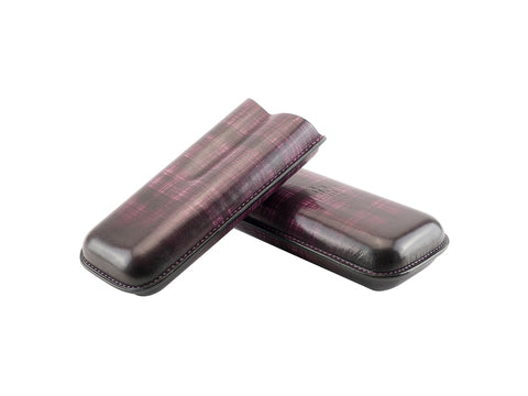 Cigar case hand painted leather purple criss cross patina
