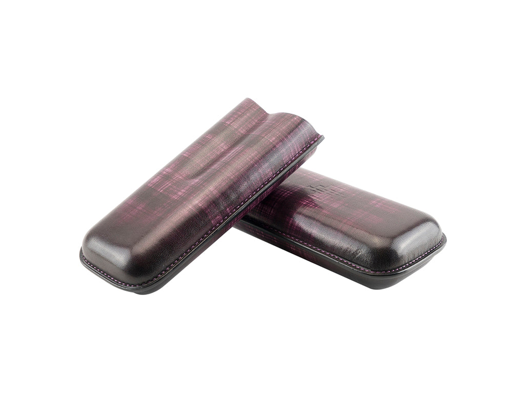 Cigar case small size in hand painted purple striped patina
