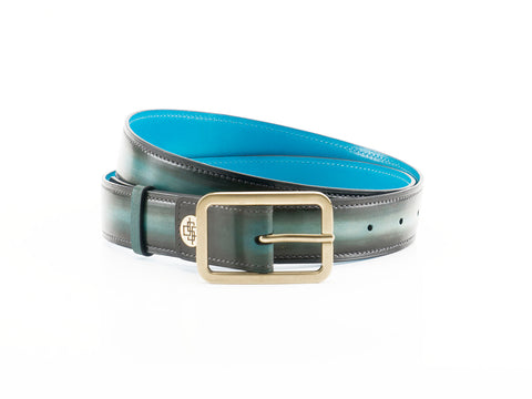 Belt 3cm width with antique brass buckle in green patina