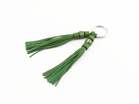 Saigon tassel pearl palladium key ring green leather tassels