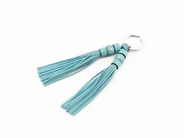 Saigon tassel pearl palladium key ring turquoise leather