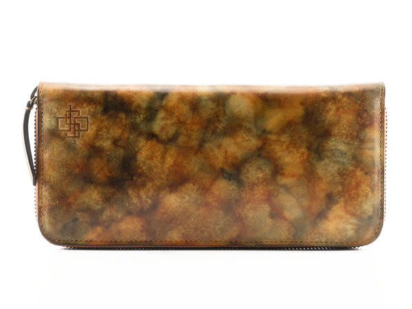 zip leather travel wallet yellow and brown marble patina