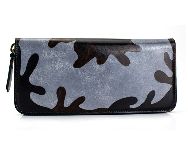 zip travel wallet hand painted urban camo grey patina